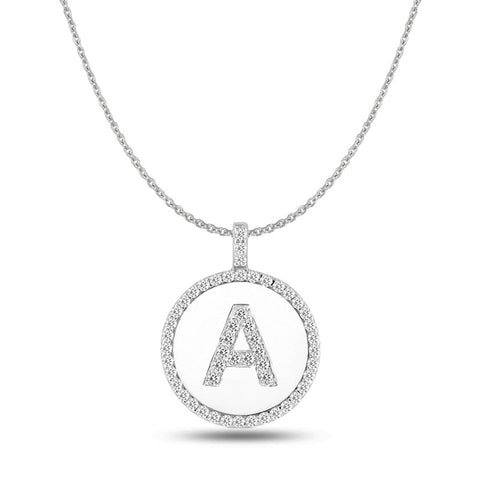 """A"" Diamond Initial  14K White Gold Disk Pendant (0.53ct) - JewelryAffairs  - 1"