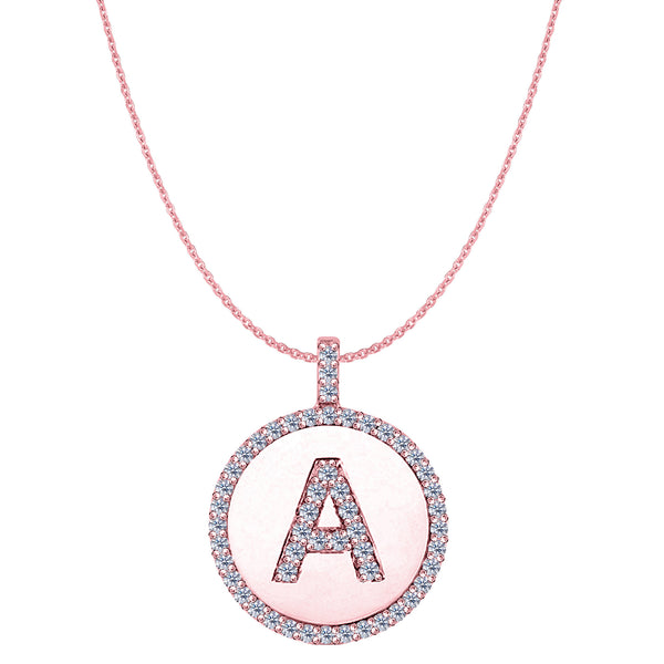 """A"" Diamond Initial 14K Rose Gold Disk Pendant (0.53ct) - JewelryAffairs  - 1"