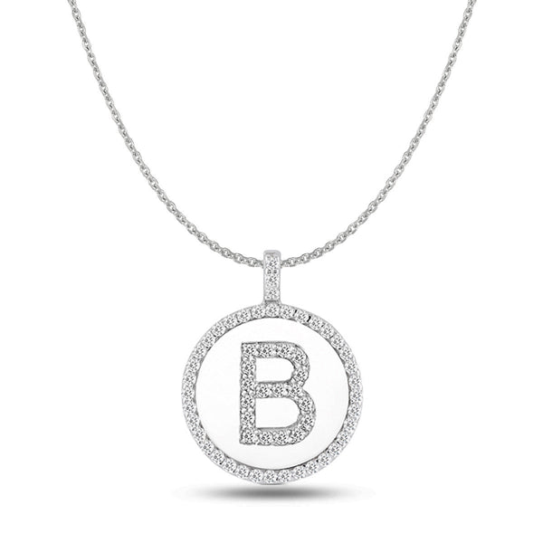 """B"" Diamond Initial  14K White Gold Disk Pendant (0.60ct) - JewelryAffairs  - 1"
