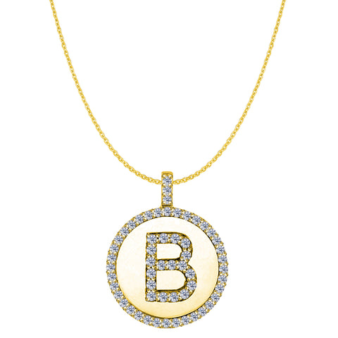 """B"" Diamond Initial 14K Yellow Gold Disk Pendant (0.60ct) - JewelryAffairs  - 1"