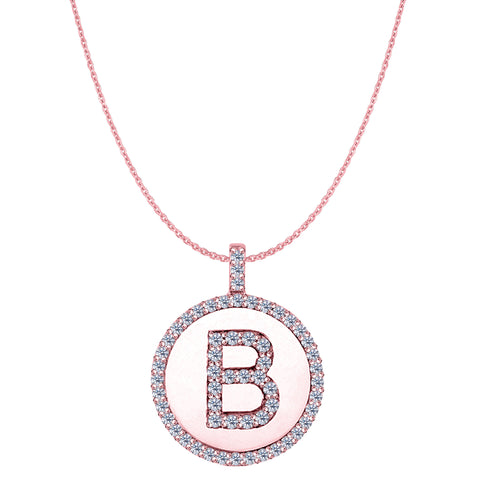 """B"" Diamond Initial 14K Rose Gold Disk Pendant (0.60ct) - JewelryAffairs  - 1"