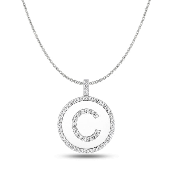 """C"" Diamond Initial 14K White Gold Disk Pendant (0.55ct) - JewelryAffairs  - 1"
