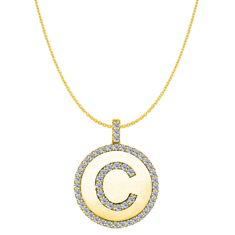 """C"" Diamond Initial 14K Yellow Gold Disk Pendant (0.55ct) - JewelryAffairs  - 1"