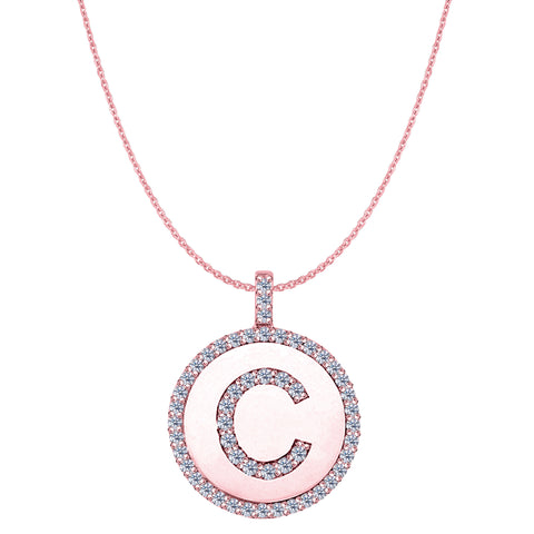 """C"" Diamond Initial 14K Rose Gold Disk Pendant (0.55ct) - JewelryAffairs  - 1"