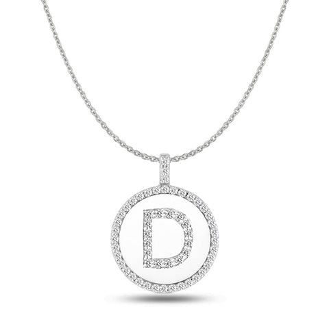 """D"" Diamond Initial  14K White Gold Disk Pendant (0.56ct) - JewelryAffairs  - 1"