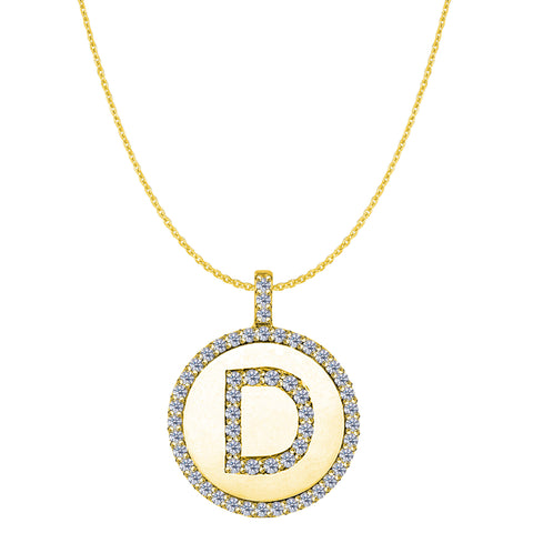 """D"" Diamond Initial 14K Yellow Gold Disk Pendant (0.56ct) - JewelryAffairs  - 1"