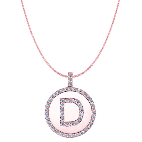 """D"" Diamond Initial 14K Rose Gold Disk Pendant (0.56ct) - JewelryAffairs  - 1"
