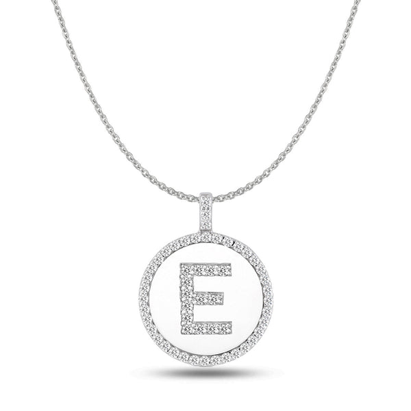 """E"" Diamond Initial  14K White Gold Disk Pendant (0.53ct) - JewelryAffairs  - 1"