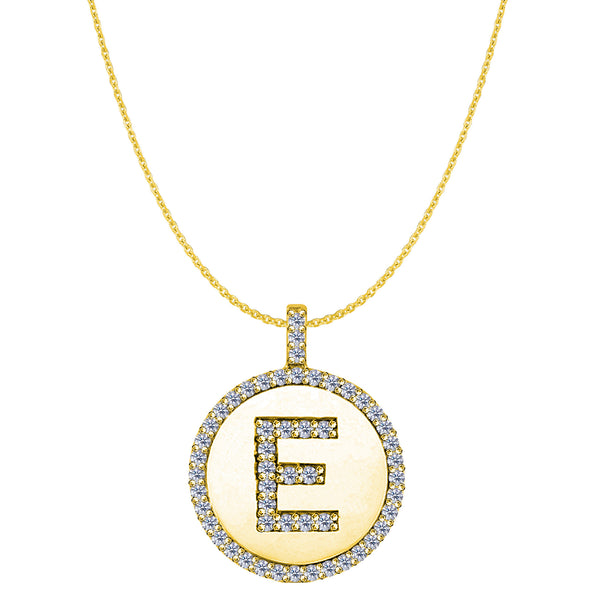 """E"" Diamond Initial 14K Yellow Gold Disk Pendant (0.53ct) - JewelryAffairs  - 1"
