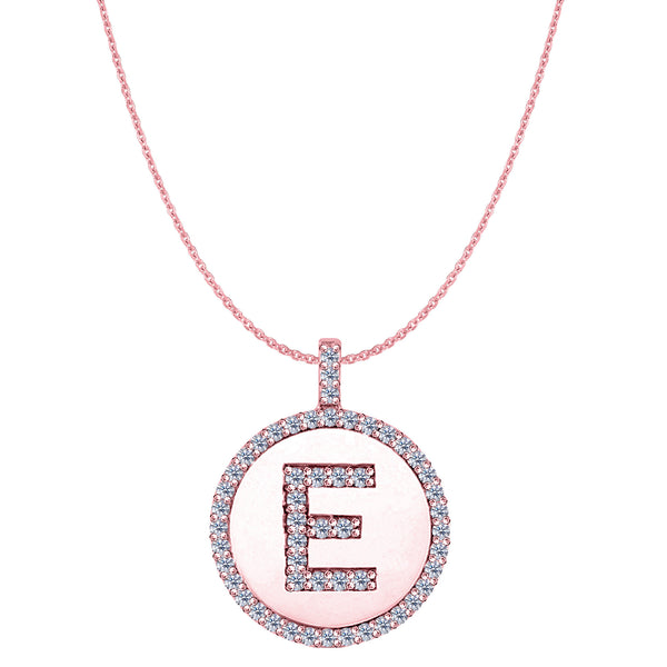 """E"" Diamond Initial 14K Rose Gold Disk Pendant (0.53ct) - JewelryAffairs  - 1"