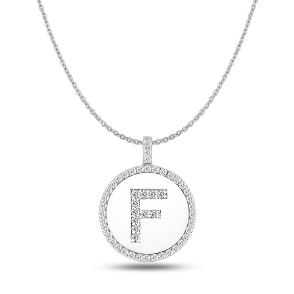 """F"" Diamond Initial  14K White Gold Disk Pendant (0.51ct) - JewelryAffairs  - 1"