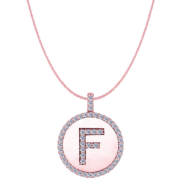 """F"" Diamond Initial 14K Rose Gold Disk Pendant (0.51ct) - JewelryAffairs  - 1"