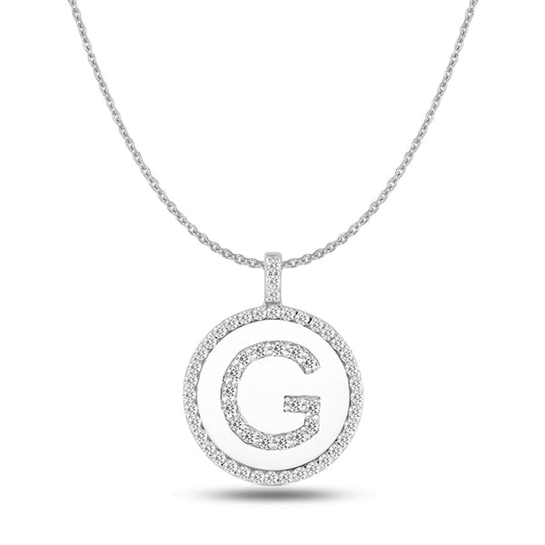 """G"" Diamond Initial  14K White Gold Disk Pendant (0.56ct) - JewelryAffairs  - 1"