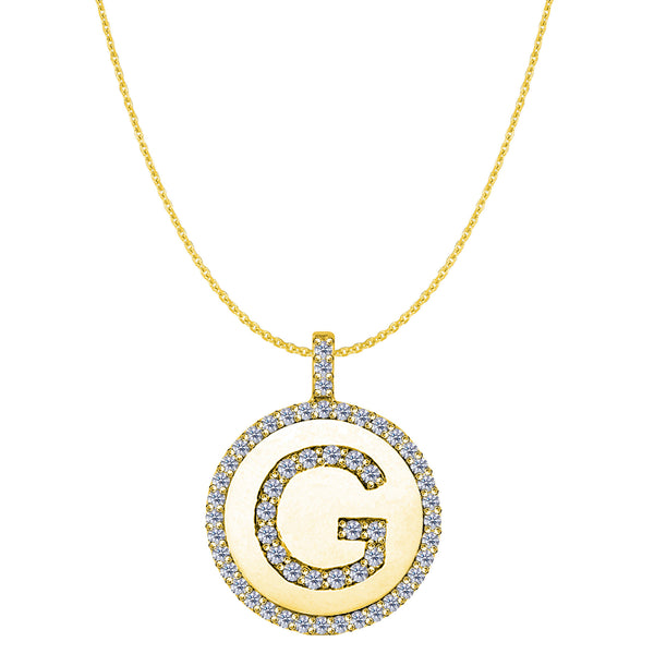 """G"" Diamond Initial 14K Yellow Gold Disk Pendant (0.56ct) - JewelryAffairs  - 1"
