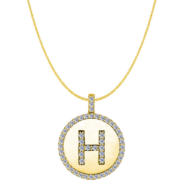"""H"" Diamond Initial 14K Yellow Gold Disk Pendant (0.54ct) - JewelryAffairs  - 1"