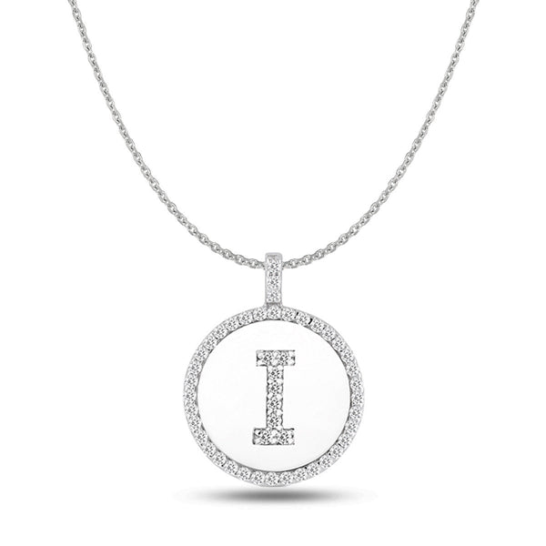 """I"" Diamond Initial  14K White Gold Disk Pendant (0.48ct) - JewelryAffairs  - 1"