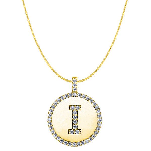 """I"" Diamond Initial 14K Yellow Gold Disk Pendant (0.48ct) - JewelryAffairs  - 1"