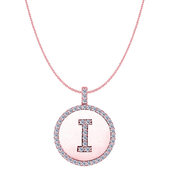 """I"" Diamond Initial 14K Rose Gold Disk Pendant (0.48ct) - JewelryAffairs  - 1"