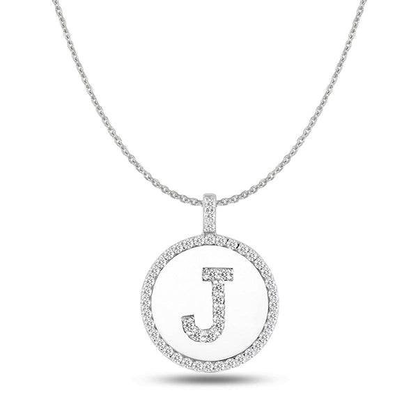 """J"" Diamond Initial  14K White Gold Disk Pendant (0.49ct) - JewelryAffairs  - 1"