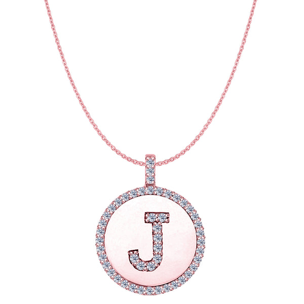 """J"" Diamond Initial 14K Rose Gold Disk Pendant (0.49ct) - JewelryAffairs  - 1"