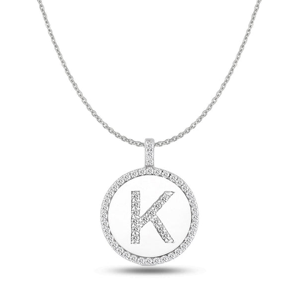 """K"" Diamond Initial  14K White Gold Disk Pendant (0.54ct) - JewelryAffairs  - 1"