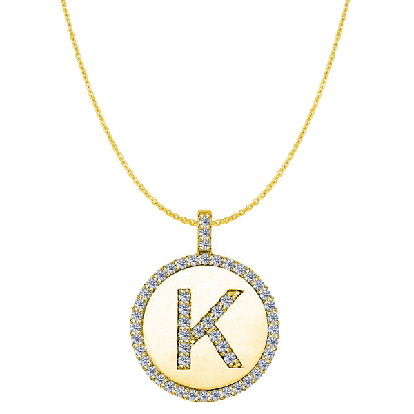 """K"" Diamond Initial 14K Yellow Gold Disk Pendant (0.54ct) - JewelryAffairs  - 1"