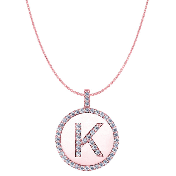"""K"" Diamond Initial 14K Rose Gold Disk Pendant (0.54ct) - JewelryAffairs  - 1"
