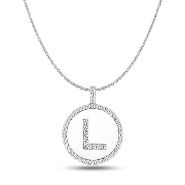"""L"" Diamond Initial  14K White Gold Disk Pendant (0.48ct) - JewelryAffairs  - 1"