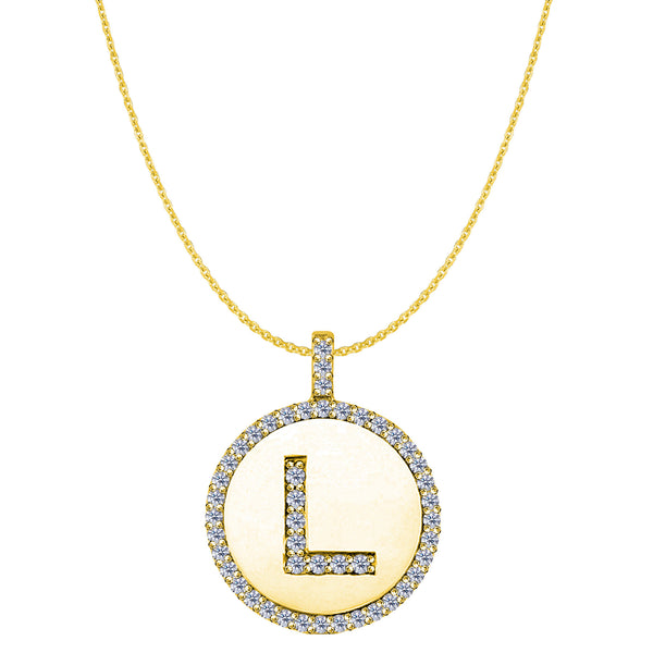 """L"" Diamond Initial 14K Yellow Gold Disk Pendant (0.48ct) - JewelryAffairs  - 1"