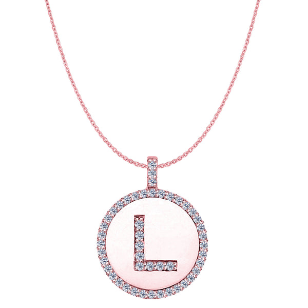 """L"" Diamond Initial 14K Rose Gold Disk Pendant (0.48ct) - JewelryAffairs  - 1"