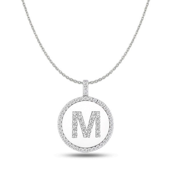 """M"" Diamond Initial  14K White Gold Disk Pendant (0.65ct) - JewelryAffairs  - 1"