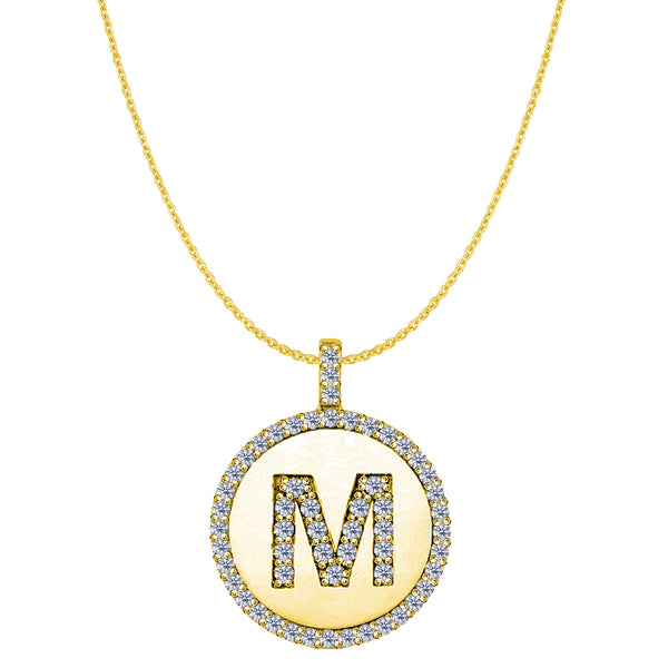 """M"" Diamond Initial 14K Yellow Gold Disk Pendant (0.65ct) - JewelryAffairs  - 1"