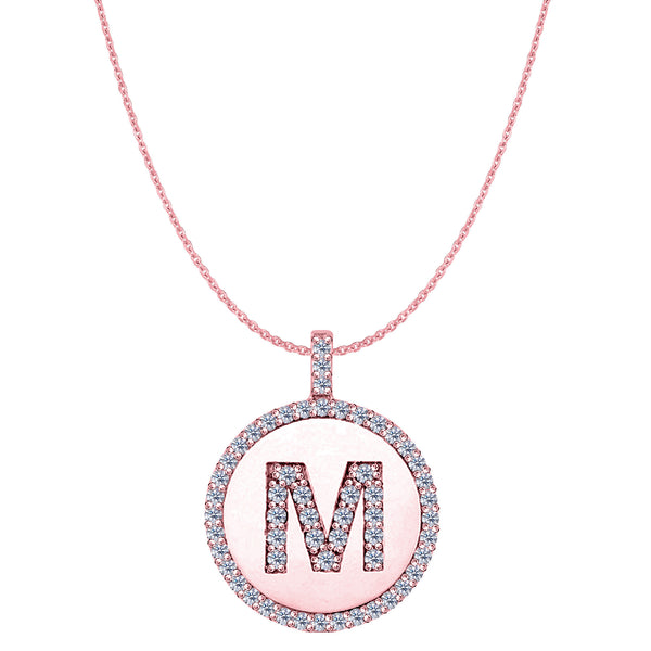 """M"" Diamond Initial 14K Rose Gold Disk Pendant (0.65ct) - JewelryAffairs  - 1"