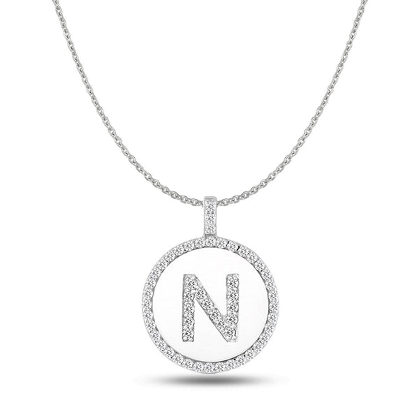 """N"" Diamond Initial 14K White Gold Disk Pendant (0.57ct) - JewelryAffairs  - 1"
