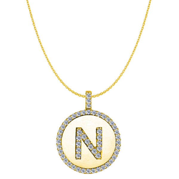 """N"" Diamond Initial 14K Yellow Gold Disk Pendant (0.57ct) - JewelryAffairs  - 1"
