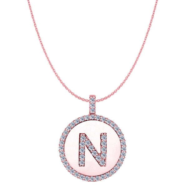 """N"" Diamond Initial 14K Rose Gold Disk Pendant (0.57ct) - JewelryAffairs  - 1"