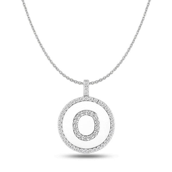 """O"" Diamond Initial 14K White Gold Disk Pendant (0.58ct) - JewelryAffairs  - 1"