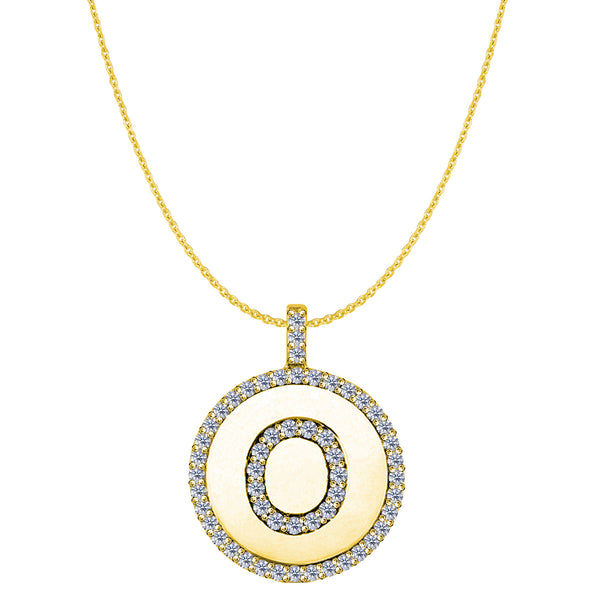 """O"" Diamond Initial 14K Yellow Gold Disk Pendant (0.58ct) - JewelryAffairs  - 1"