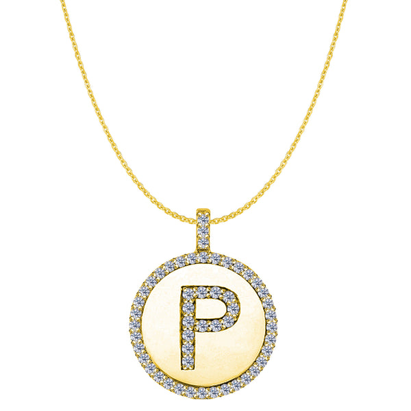 """P"" Diamond Initial 14K Yellow Gold Disk Pendant (0.55ct) - JewelryAffairs  - 1"