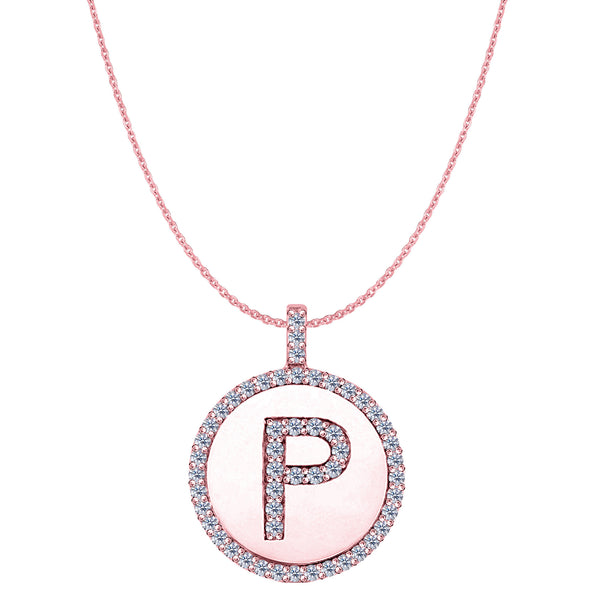 """P"" Diamond Initial 14K Rose Gold Disk Pendant (0.55ct) - JewelryAffairs  - 1"