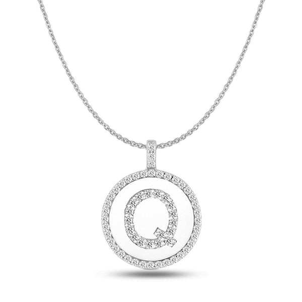 """Q"" Diamond Initial 14K White Gold Disk Pendant (0.59ct) - JewelryAffairs  - 1"