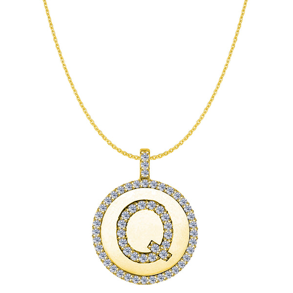 """Q"" Diamond Initial 14K Yellow Gold Disk Pendant (0.59ct) - JewelryAffairs  - 1"
