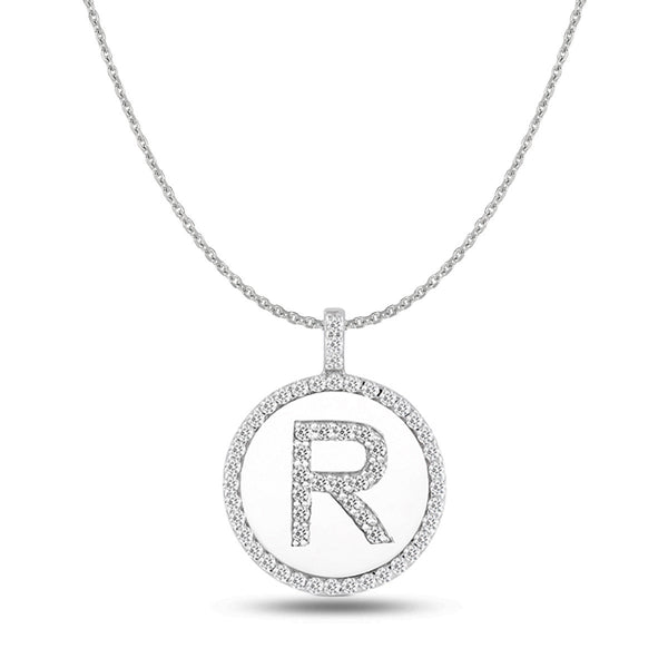 """R"" Diamond Initial 14K White Gold Disk Pendant (0.57ct) - JewelryAffairs  - 1"