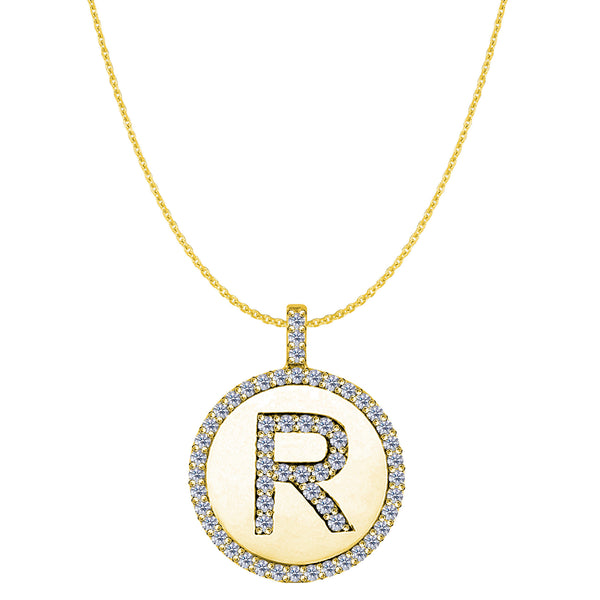 """R"" Diamond Initial 14K Yellow Gold Disk Pendant (0.57ct) - JewelryAffairs  - 1"