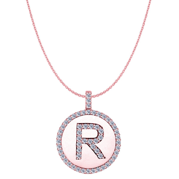 """R"" Diamond Initial 14K Rose Gold Disk Pendant (0.57ct) - JewelryAffairs  - 1"