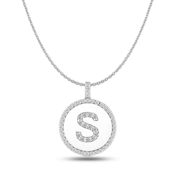 """S"" Diamond Initial 14K White Gold Disk Pendant (0.56ct) - JewelryAffairs  - 1"