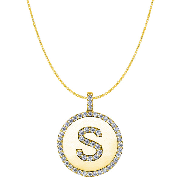 """S"" Diamond Initial 14K Yellow Gold Disk Pendant (0.56ct) - JewelryAffairs  - 1"