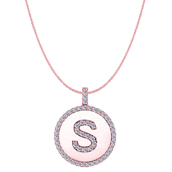 """S"" Diamond Initial 14K Rose Gold Disk Pendant (0.56ct) - JewelryAffairs  - 1"