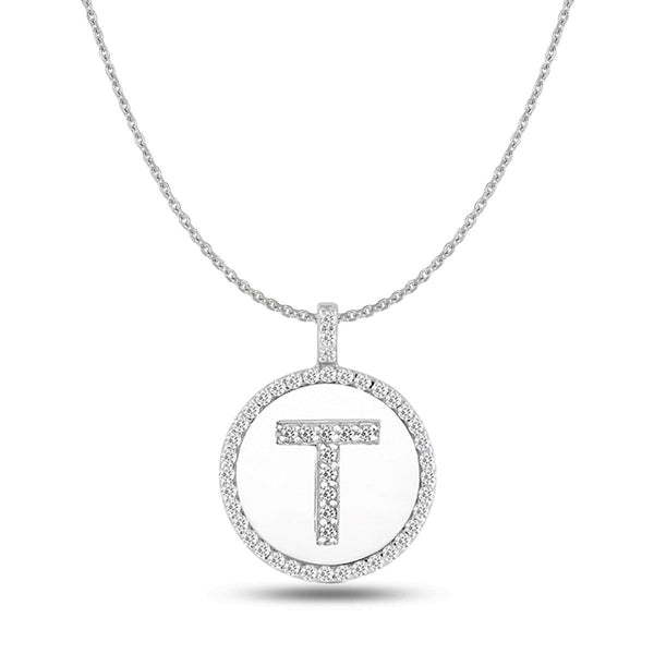 """T"" Diamond Initial 14K White Gold Disk Pendant (0.50ct) - JewelryAffairs  - 1"