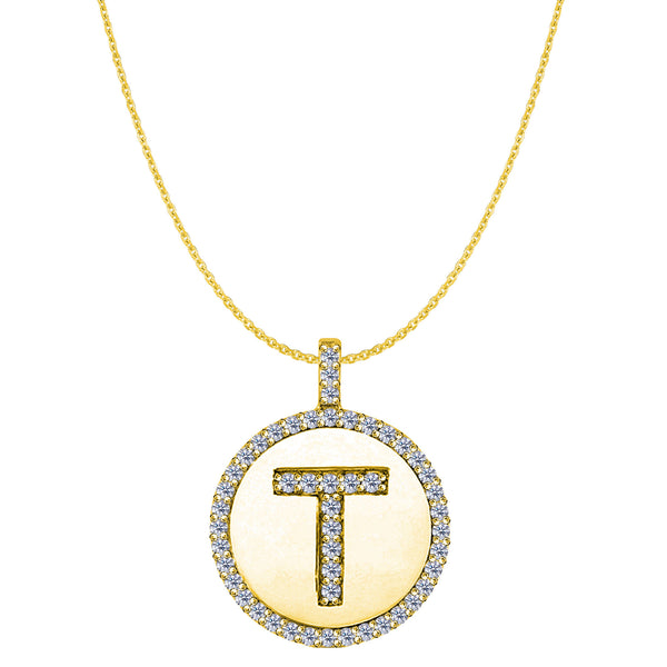 """T"" Diamond Initial 14K Yellow Gold Disk Pendant (0.50ct) - JewelryAffairs  - 1"